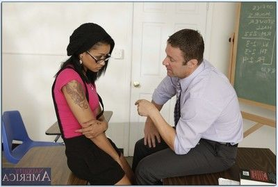 Black college girl Outer Diamond screwing hardcore on the teacher\