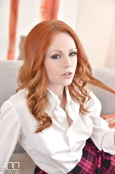 Redheaded schoolgirl Ella Hughes masturbating in toffee-nosed heels and knee socks
