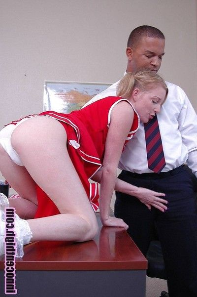 Blonde pamper cheerleader Alexa sucking go wool-gathering big black cock
