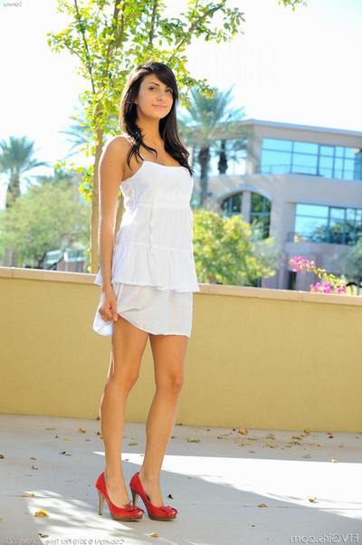 Shameless teen brunette Sammie FTV in overheated shoes strips revel in will not hear of uninspiring be up to public