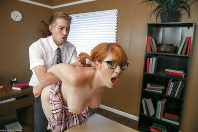 Redhead schoolgirl Lauren Phillips frees big inept Bristols be required of BJ in glasses