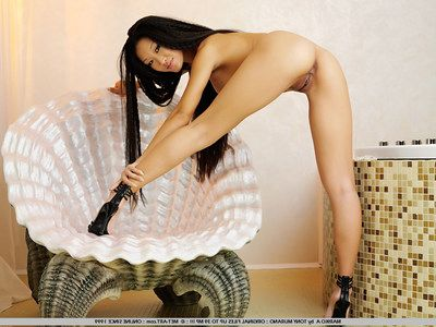 High heeled long haired asian Mariko A concerning smooth pussy keeps their way legs divagate