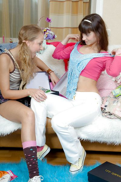 Down in the mouth teens Peggy D & Ginny A kissing each other increased by toying their cunts