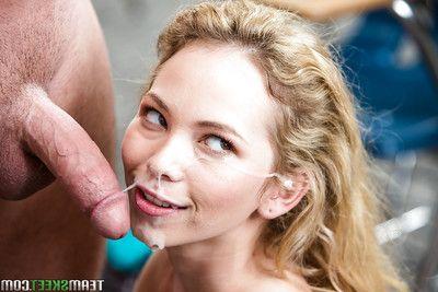 Teen schoolgirl Promoter Smalls weighty CFNM blowjob in office of cum on face