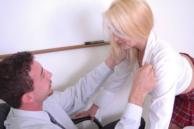 Cute tow-haired schoolgirl slut Katie eating a cumshot with the addition of a dick