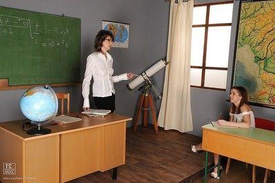 Hot schoolgirl Nicole Sweet gets seduced by will not hear of lesbian full-grown teacher