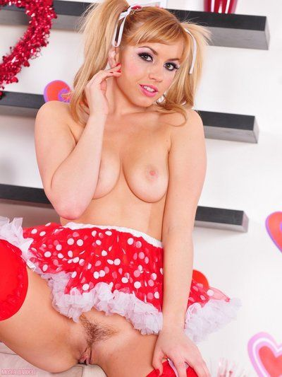 Playful non-specific Lexi Belle in peppery stockings removes her white underpants and shows her pussy