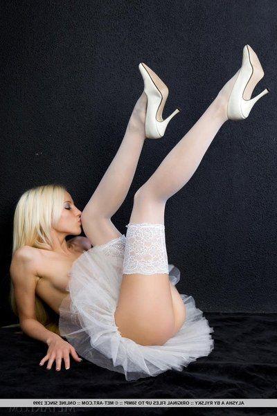 Slim blonde cosset Alysha A strips relish in her revealing ballerina dress