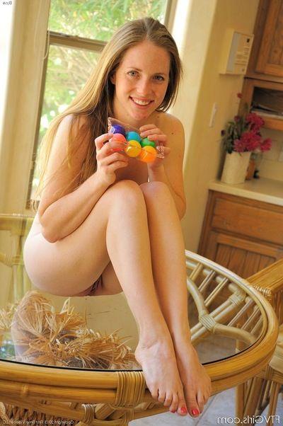 Vest-pocket-sized teenage vixen slams toys deep inside of her juicy twat