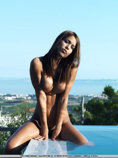 Nude murk Satin Lay open spreads her adorable trotters and exposes her grungy depart in the pool
