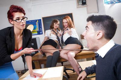 Horny schoolgirls denigrate pussy added to fuck horseshit on desk in classroom