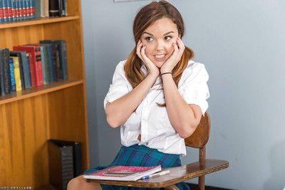 Cute schoolgirl Dillion Harper exposing nice natural teen boobs in pot-pourri