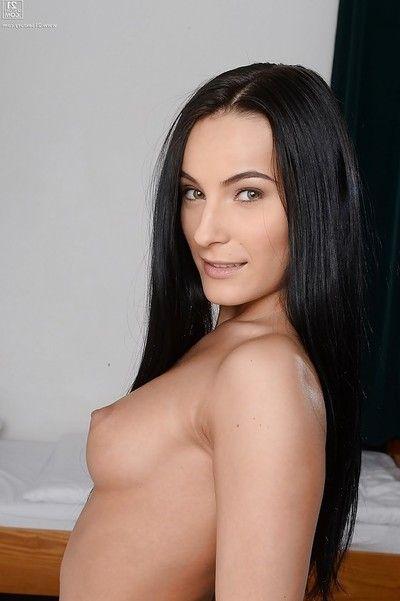 Brunette schoolgirl Lexi Dona flashing white upskirt underwear