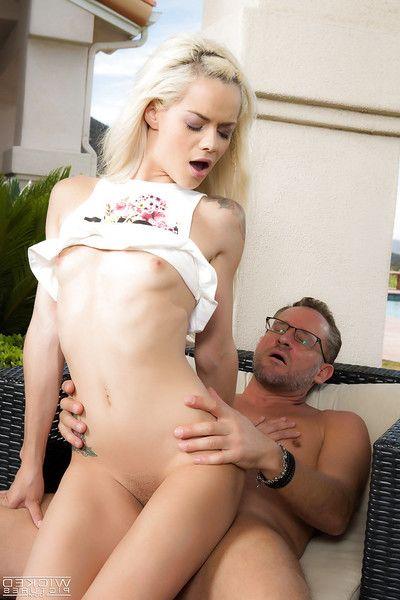 Young blonde Euro pornstar Elsa Jean taking hardcore cumshot on bald pussy
