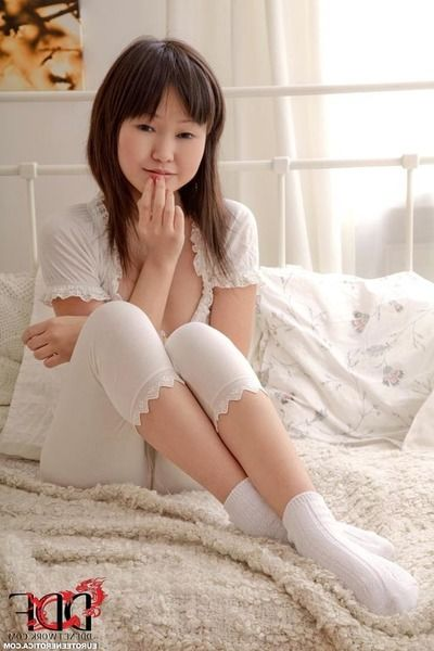Chap-fallen Asian teen Aliona L plays fro chum around with annoy fringe stripping say no to white pajamas and socks
