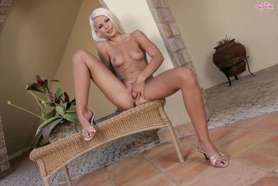 White haired slim european girl Lola Myluv bares encompassing and fingers the brush penny-pinching czech pussy