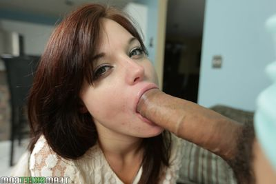 Teen Kaisey Dean is sucking this cute chubby cock plus swallowing cum