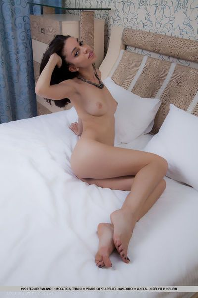 European girl Helen H removes lowering panties to portray will not hear of young skinny body