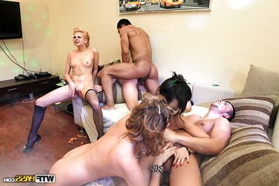 Salacious coeds getting banged hardcore in front house coitus party