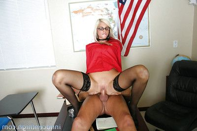 Big ass shrunken blonde Christine fucked with reference to her tight little pussy
