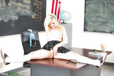 Blond hottie Aubrey Gold flashing her upskirt schoolgirl panties below desk