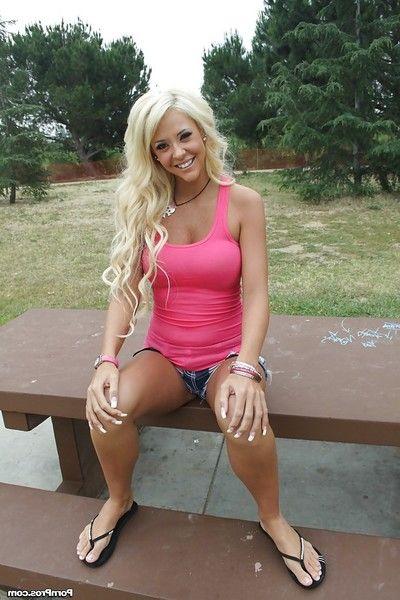 Long legged teen flaxen-haired Courtney Tyler posing outdoor in jean shorts