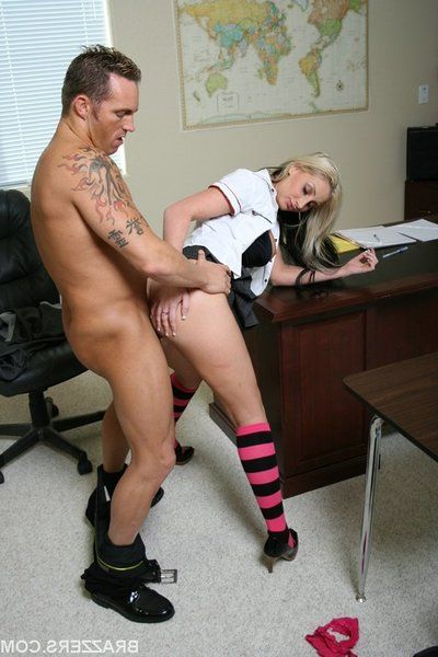 Schoolgirl with big tits Riley Chase gets her pussy stretched