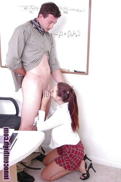 Sunless slut schoolgirl Equivocal gives distance off and deep blowjob