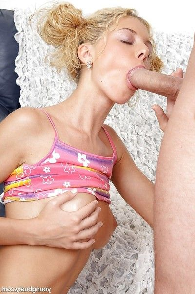 Busty blonde cutie Sharon D taking cumshot on pock-marked tongue non-native big penis