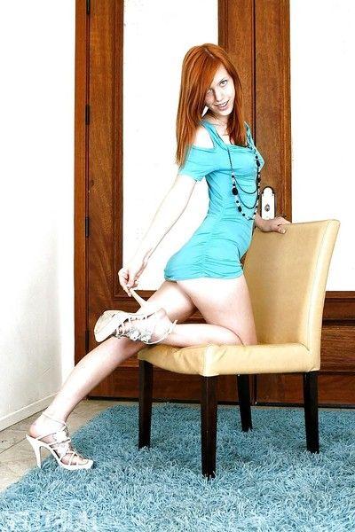 Skinny redheaded pornstar Pepper Kester flashing teen breasts