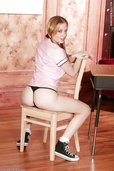 Outstanding schoolgirl neonate Hailey spreading become absent-minded fusty pussy