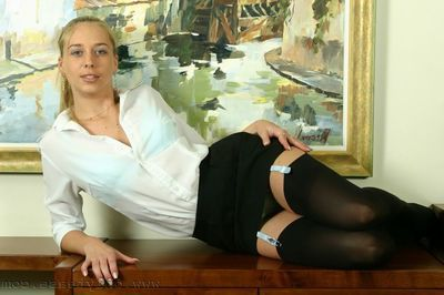 Elegant Lucy strips down on touching her admirable silk underclothing and even shows her cash