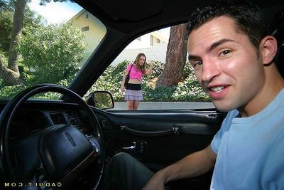 Slutty teen hitchhiker gets talked into blowjob in the motor