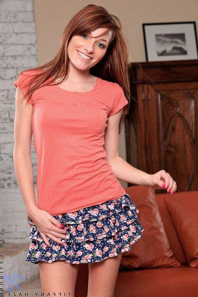 Cute redhead teen Tiffany Haze more erotic perky jugs exposes will not hear of bare exasperation plus shaved pussy