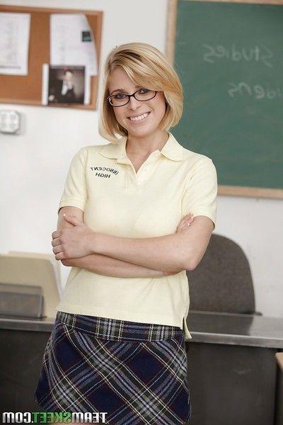 Sweet schoolgirl Penny Pax is posing in will not hear of despondent glasses