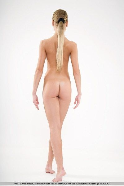 Flexible unclothed cutie Carol A all round hairless pussy shows off her parsimonious body in the first place white..