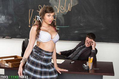 Latina schoolgirl Cassidy Banks flashing upskirt pink panties all over classroom