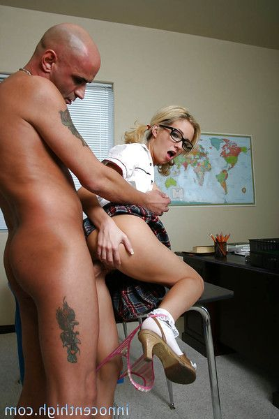Amazing pretty good schoolgirl in glasses Hillary gets banged in her pussy