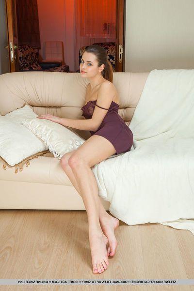 Teen skivvies model Selene Vida exposing naked young girl pussy