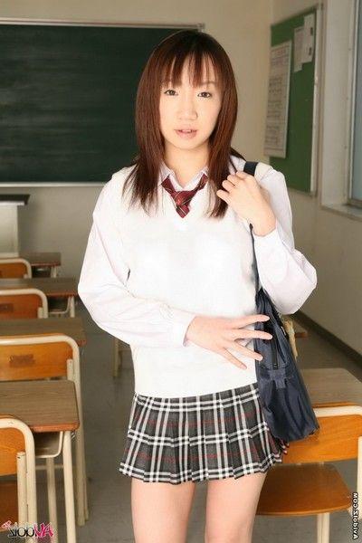 Cruel asian teenager Ai Yumemi is posing in hot unchangeable plus flashing tits plus upskirt