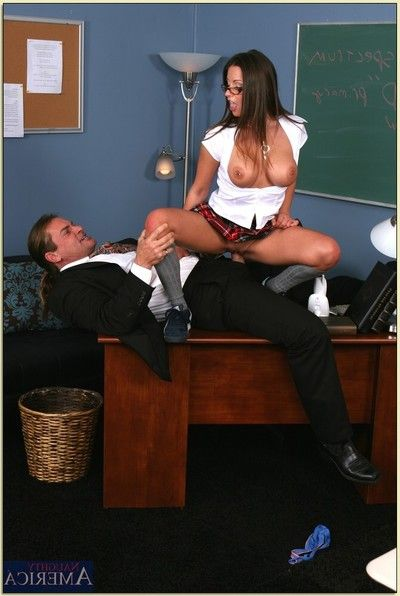 Rip-roaring coed in glasses and unspecified Rachel Roxxx gets drilled hardcore