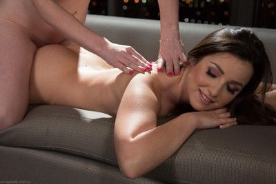 Blonde tegan riley added to her friend lola foxx have a nasty rub down action!