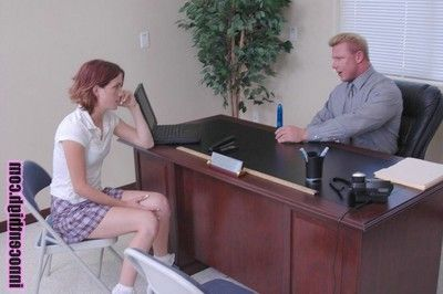 Tall redhead student concerning smart paws flashes her bush