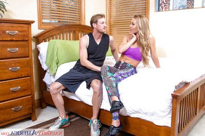 Busty blond feel nostalgia for Nicole Aniston riding cock for cumshot on boobs