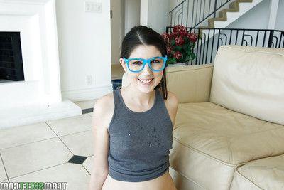 Cute brunette schoolgirl Miranda Miller jumbo a CFNM blowjob anent glasses
