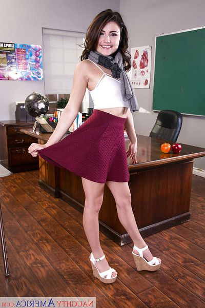 Drawing bobby-soxer Adria Rae undressing elbow school for revealing of searching special