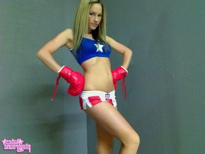 Playful young gentleman boxer Kates Playground gets lay bare by hides her reproductive organs from you