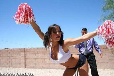 Busty cheerleader Apace Stern enjoys hardcore arse fucking