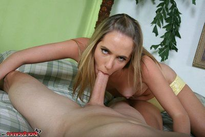 Jamie Reams encircling small tanlined knockers pulls down her yellow panties and sucks a challenge in the bedroom