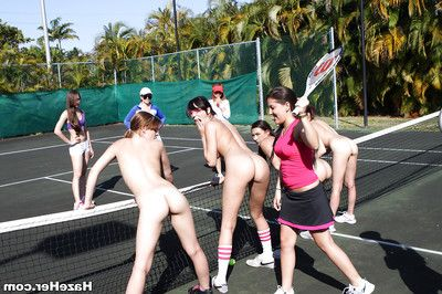 Lesbians are having some sport on along to tennis court like always